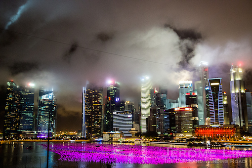 Rain clouds over a Marina Bay dressed up for Countdown 2016.