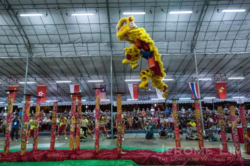 The winning lion - from China's Foshan Huang Feihong Memorial Hall, in action.