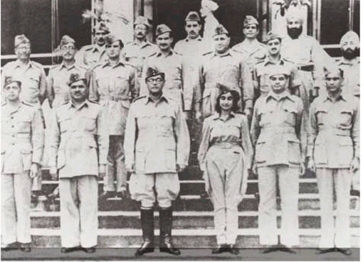 Members of the Azad Hind posing for a photograph in Singapore on 21 October 1943.