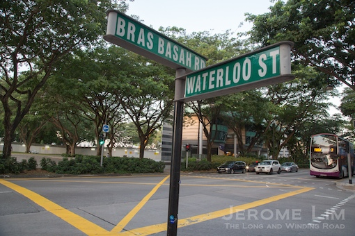Where the gates would have been across Bras Basah Road.