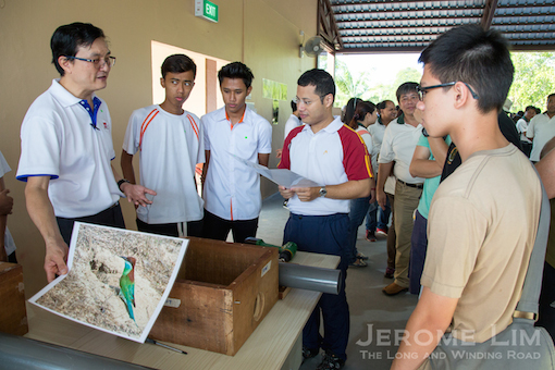 SMS Desmond Lee at the launch - with ITE College East staff and students working on setting up nesting boxes around the island for the Blue-throated Bee-eater.