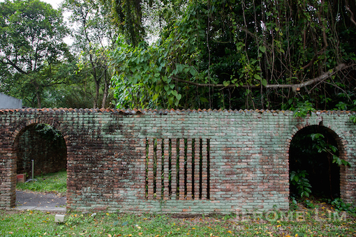 A brick wall, which once belonged to the Japanese Garden.