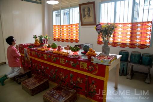 An altar at the men's vegetarian hall at Jalan Kemaman.