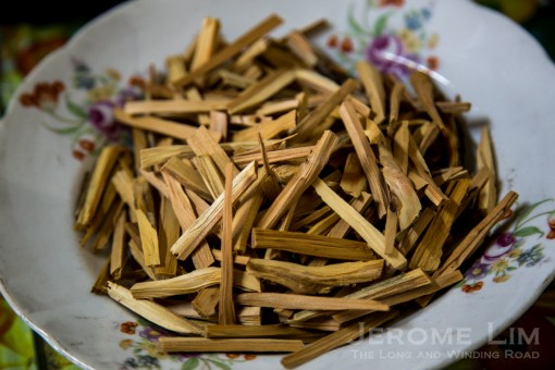 Sandalwood incense sticks made from trees grown on the grounds.