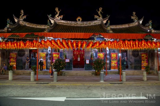 The Thian Hock Keng at Telok Ayer Street, Singapore's oldest Hokkien Taoist temple.