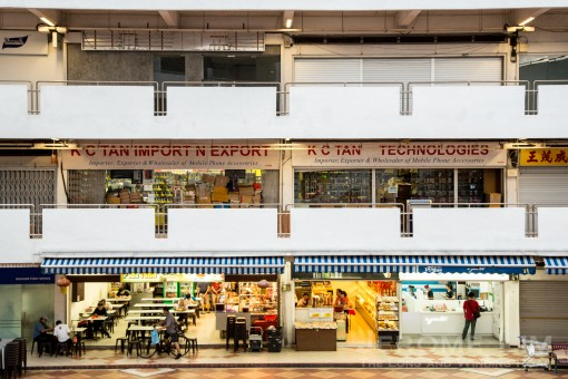 Rochor Centre features a podium with three levels of shop lots.