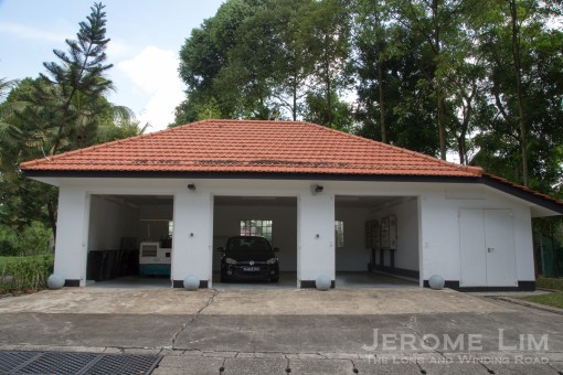 A garage on the lower terrace.
