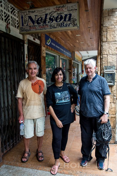 David Ayres (R), with Phil and Nora, the founder of Old Sembawang Naval Base Facebook group.
