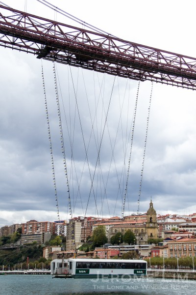 The gondola is suspended using wire-ropes from a trolley running across its span.