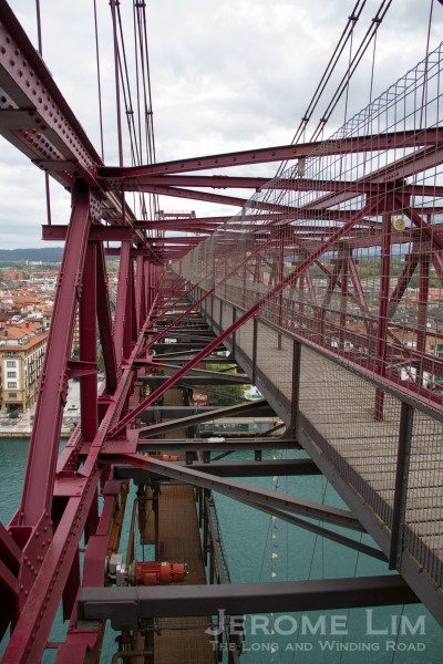 A view of the trolley from the top of the bridge.