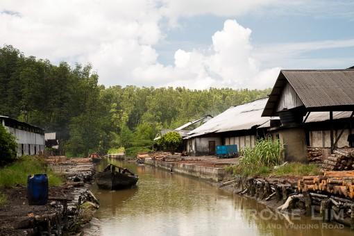 The charcoal factory at Kuala Sepetang.