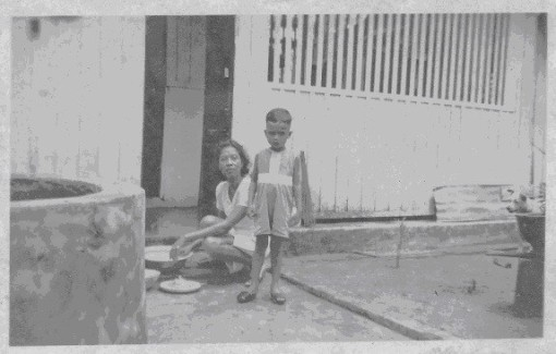 A photograph taken by Edmund Arozoo's late father from his album. A well at one of the two houses he stayed at in Jalan Hock Chye.
