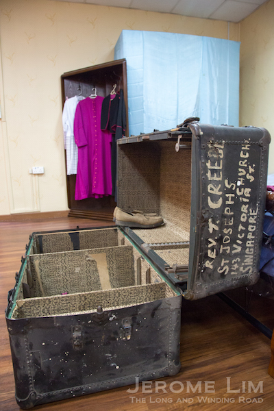 An example of a trunk used by missionaries coming over from Europe.