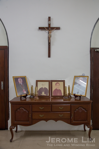 Photographs of the Archbishops of Singapore since the handover as well as the last Bishop of Macau the church was under the jurisdiction of.