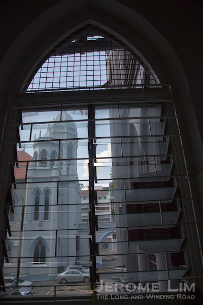 A view out the window to St. Joseph's Church.