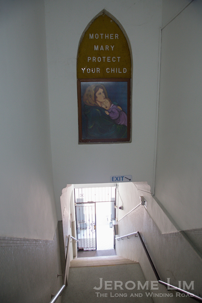 A side stairway down from the second floor to the exterior.