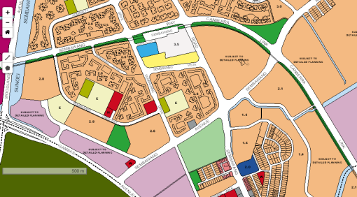 The original intended location of the sports and recreation complex in Sembawang (area shaded in light green) [URA Master Plan 2008].