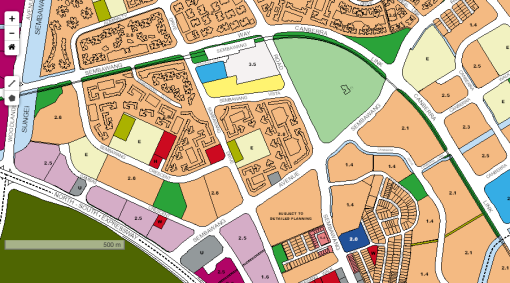 The revised location of the sports and recreation complex in Sembawang (area shaded in light green) [URA Master Plan 2014]