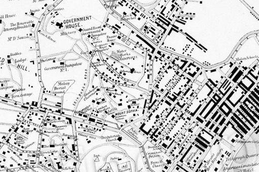 An 1881 map showing the tops of the hills of the former Prinsep estate populated by newly built residences.