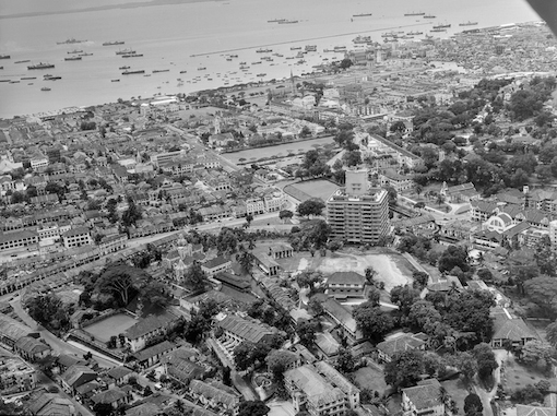 A view over Mount Sophia towards the harbour c. late 1940s. Eu Villa can be seen in the lower left part of the photograph.