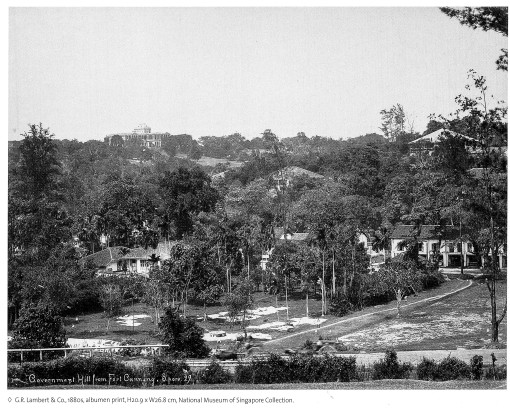 A photograph of Government House perched on Mount Caroline in the 1880s, seen from Fort Canning. Mount Sophia is in the background on the left.