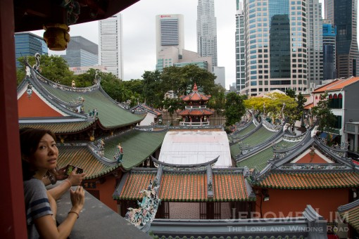 A view from the pagoda across to the Thain Hock Keng and the former Keng Teck Whay.