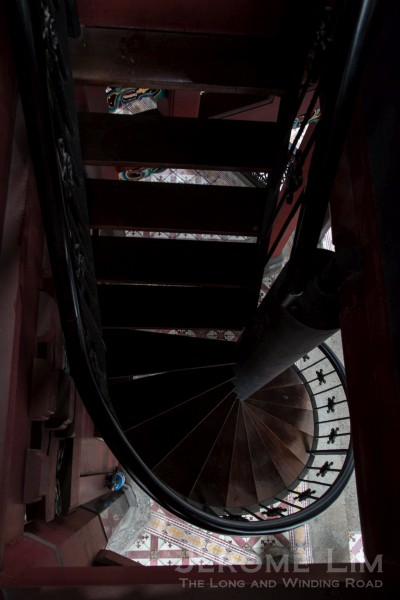 The wrought iron staircase.