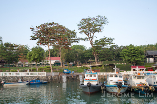 The wharf at Changi Creek where fish from fish farms off the northeastern shore are brought ashore.