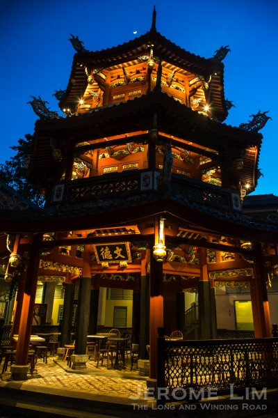 A night-time view of the pagoda.