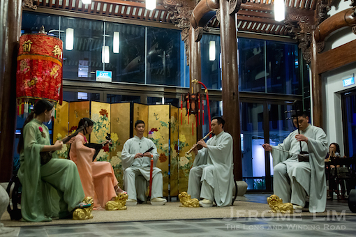 Ancient music in ancient structures. A performance by the Siong Leng Musical Association held in a main hall that was part of a house from Zhejiang.
