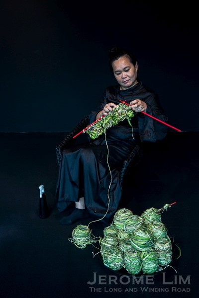 Freakily leeky - Chia Chuyia's Knitting the Future at 8Q. The artist knits leeks to create a body length garment over a five week period. Leeks, as a food item, hold significance to the Teochew community to which the artist belongs.