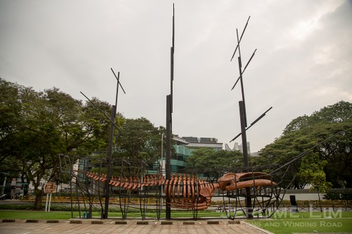 The Great East Indiaman features a recreation of the whale skeleton that once hung inside the National Museum of Singapore in wood.