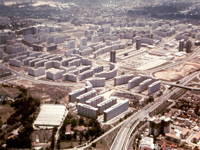 A view over the area in the early 1970s when Toa Payoh New Town was taking shape. The school can be seen in the lower left of the photo with Times Building then occupying the other part of the former quarry site.