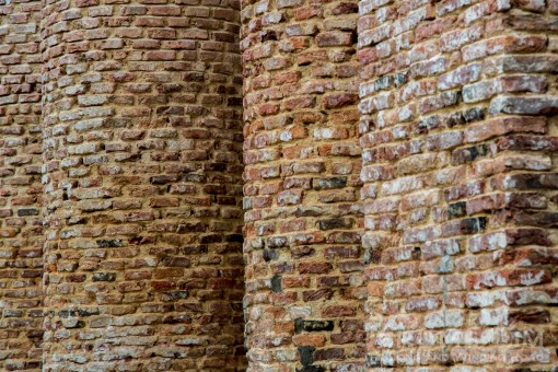 Exposed brickwork of the columns seen during the restoration.