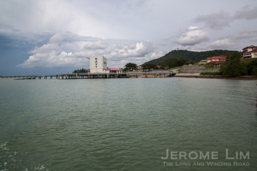 The naval base at Tanjung Pengelih, with Bukit Pengerang in the background.
