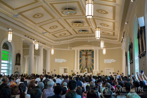 Standing room only. The opening drew a large crowd and pews were already filled as early as an hour and a half before mass.