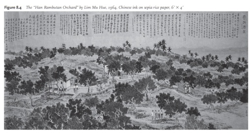 A sketch of the 'Han Rambutan Orchard' by Lim Mu Hue (Singapore in Global History p. 164).