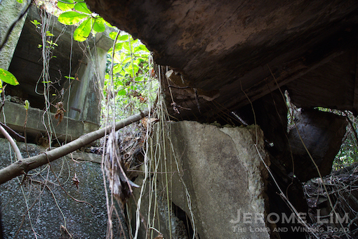 The collapsed structure of the 6 inch Gun No. 1 emplacement on the spur.