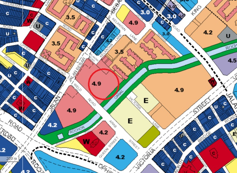 Plans for future redevelopment (Master Plan 2014). The market is in the area circled.