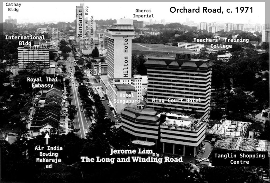 A view down Orchard Road in 1971.